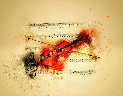 Mixed Media - Violin And Sheet Music by Ractapopulous
