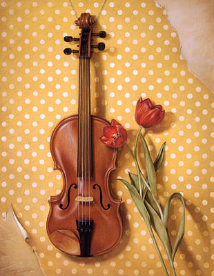 Violin And Tulips  Art Print by Cuong Nguyen