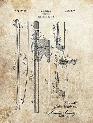Musicians Drawings - Violin Bow Patent by Dan Sproul