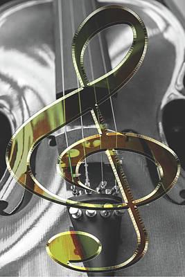 Photograph - Violin Instrument With Violin Key by Jacek Wojnarowski