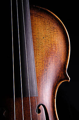 Violin Isolated On Black Art Print by M K  Miller