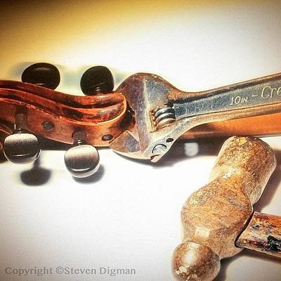 Music Photograph - Violin Mechanics  by Steven Digman