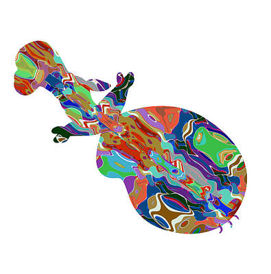 Violin Music Instrument Graphic Abstract Design Colorful Art Original