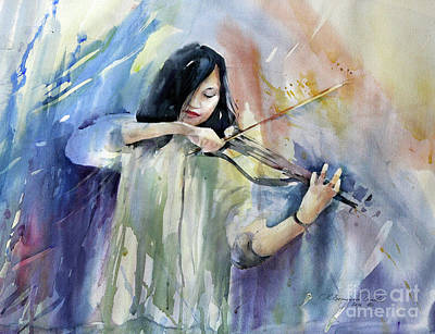 Musician Painting - Violin Musician by Natalia Eremeyeva Duarte