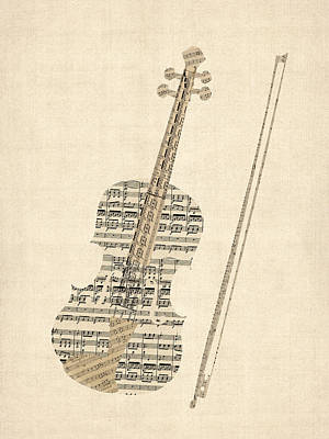 Digital Art - Violin Old Sheet Music by Michael Tompsett