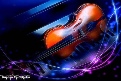 Digital Art - Violin On Piano  by Riana Van Staden