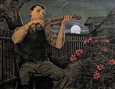 Violin Player Drawing - Violin Player To The Moon by Hans Thoma