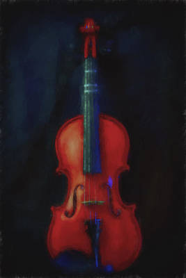 Music Royalty-Free and Rights-Managed Images - Violin Portrait Music 12 Painted Digitally by David Haskett II