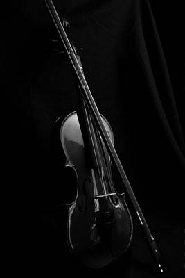 Photograph - Violin Portrait Music 29 Black White by David Haskett II