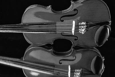 Fiddle Photograph - Violin Reflectiuon In Black And White by Garry Gay