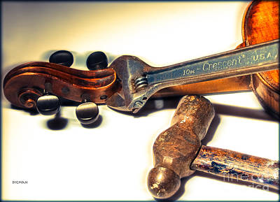 Fiddle Photograph - Violin Repair  by Steven Digman