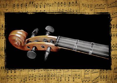 Water Droplets Sharon Johnstone - Violin Scroll by Patrick Chuprina