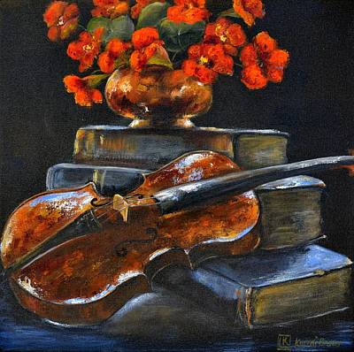 Violin Still Life Original by Kareni Bester