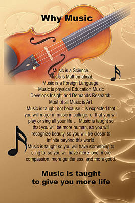Violin Viola Why Music For T Shirts Or Posters 4831.02 Art Print by M K  Miller