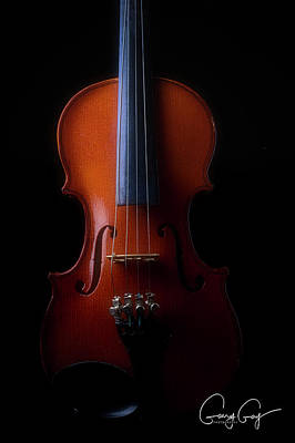 Photograph - Violin With Artist Signature by Garry Gay