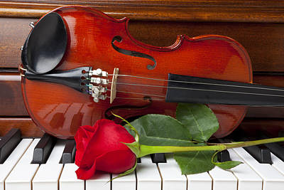 Violin With Rose On Piano Art Print by Garry Gay