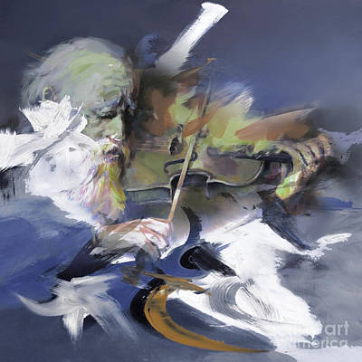 Abstract Drum Painting - Violinist 01 by Gull G