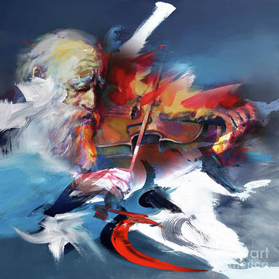 Abstract Drum Painting - Violinist  by Gull G