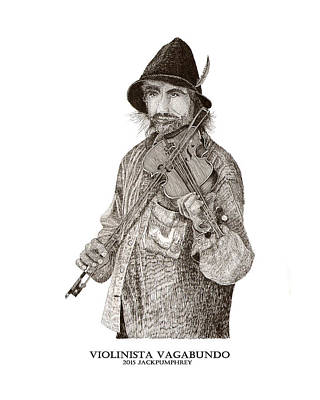Food And Beverage Drawings - Violinista Busker Vagabundo by Jack Pumphrey