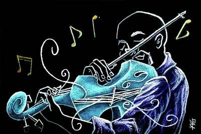 Violinista Gran Caffe Chioggia - Musica Piazza San Marco Art Print by Arte Venezia