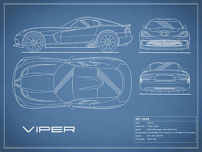 Viper Photograph - Viper Blueprint by Mark Rogan