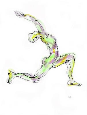 Stillness Drawing - Virabhadrasana by Boryana Korcheva