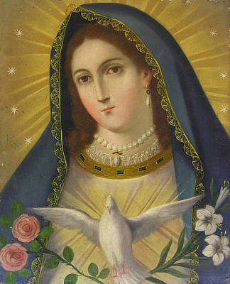 Devotional Painting - Virgen De La Paloma by Unknown