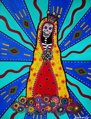 Virgen Guadalupe Dia De Los Muertos Print by Pristine Cartera Turkus