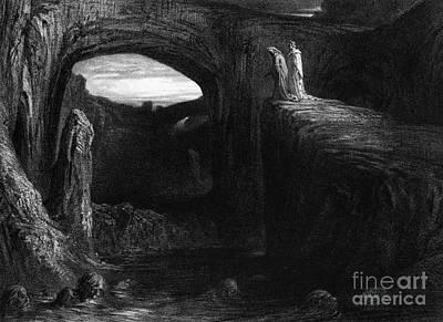 Cavern Drawing - Virgil And Dante Entering Hell by Gustave Dore