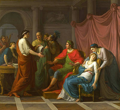 Octavia Painting - Virgil Reading The Aeneid To Augustus And Octavia by Jean-Joseph Taillasson