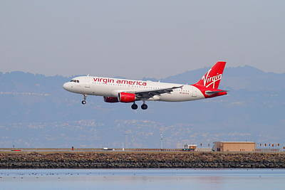 Virgin America Airlines Jet Airplane At San Francisco International Airport Sfo . 7d12180 Print by Wingsdomain Art and Photography