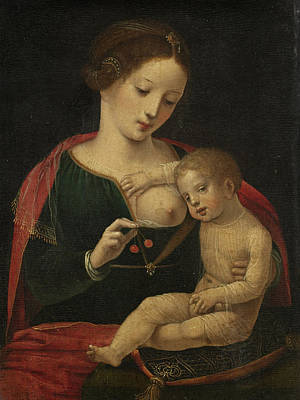 Master Of The Female Half-lengths Painting - Virgin And Child 2 by The Master of the Female Half-Lengths