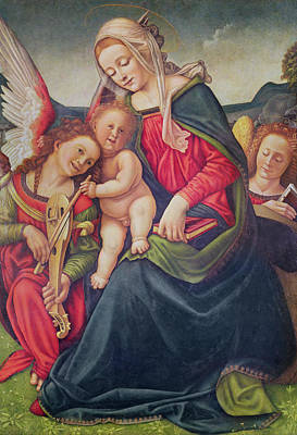 Child Jesus Painting - Virgin And Child And Angel Musicians  by Piero di Cosimo