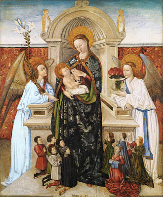 Painting - Virgin And Child Angels And Family Of Donors by Berthomeu Baro