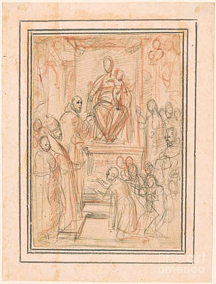 Virgin And Child Enthroned Art Print by Celestial Images