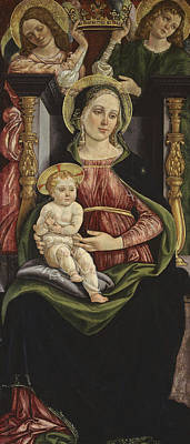 Virgin And Child Enthroned With Two Angels Holding A Crown Print by Michele Ciampanti