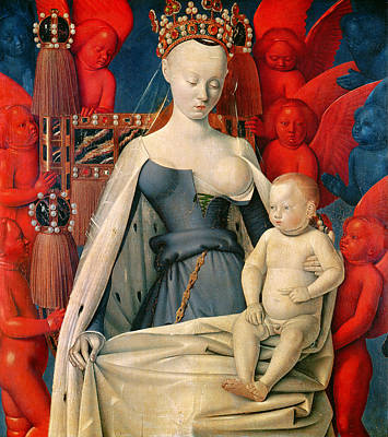 Blue Angels Painting - Virgin And Child Surrounded By Angels by Jean Fouquet