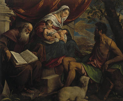 Baptist Painting - Virgin And Child With John The Baptist And Saint Anthony The Abbot by Jacopo Bassano