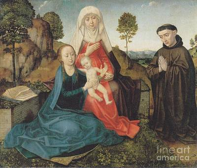 Hugo Drawing - Virgin And Child With St. Anne And A Franciscan Donor by Celestial Images