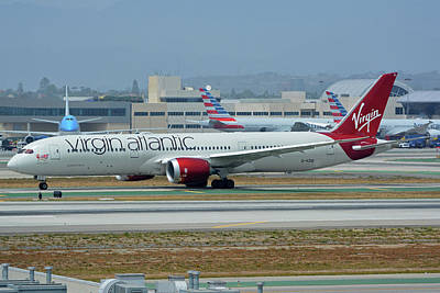 Print featuring the photograph Virgin Atlantic Boeing 787-9 G-vzig Los Angeles International Airport May 3 2016 by Brian Lockett