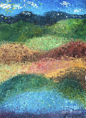 Painting - Virgin Color Acorn Hill #2 Oil Landscape Abstract Impressionism Textured Home Office Wall Decor by Tim Hovde