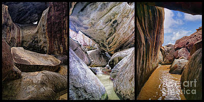 Photograph - Virgin Gorda The Baths Caves Triptych  by Olga Hamilton