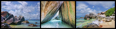 Photograph - Virgin Gorda The Baths Triptych Panorama by Olga Hamilton