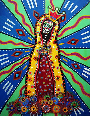 Virgin Guadalupe Day Of The Dead Painting Art Print by Pristine Cartera Turkus