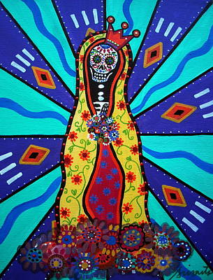 Mexican Town Painting - Virgin Guadalupe Day Of The Dead by Pristine Cartera Turkus