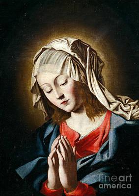 Sassoferrato Painting - Virgin In Prayer by Giovanni Battista Salvi da Sassoferrato