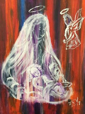 Painting - Virgin Mary And Baby Jesus by Lucille Valentino