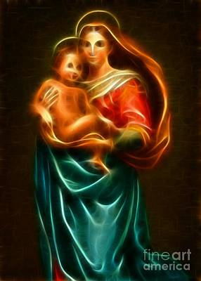 Happy Easter Mixed Media - Virgin Mary And Baby Jesus by Pamela Johnson