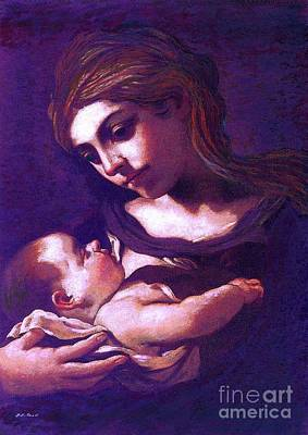 Purple Sky Painting - Virgin Mary And Baby Jesus, The Greatest Gift by Jane Small