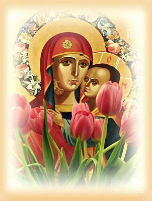 Child Jesus Photograph - Virgin Mary And Tulips      by Sarah Loft